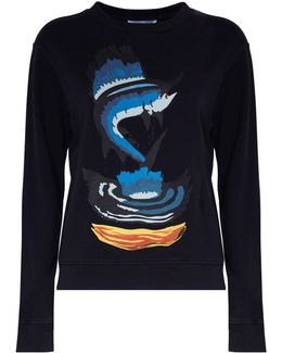 Marlin Print Cotton Sweatshirt