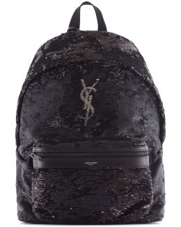 Leather Backpack With Sequins