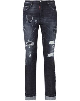 Distressed Rolled Cuff Jeans