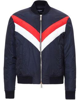 Tricolor Nylon Bomber Jacket