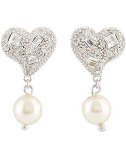 Pearl Drop Heart Earrings