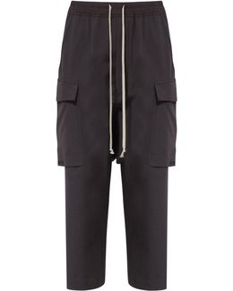 Cropped Drawstring Virgin Wool Cargo Trousers