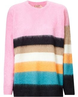 Loose Fit Striped Mohair Blend Sweater