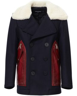 Military Wool Shearling Collar Jacket