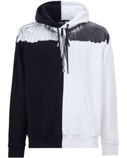 Hooded Bicolor Sweatshirt With Feathers Print