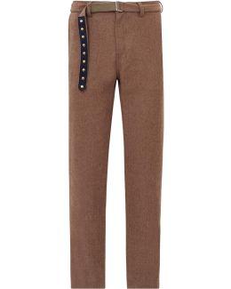 Herringbone Wool Blend Trousers