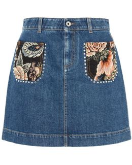 Denim Patch Pocket Tapestry Skirt