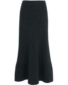 Grey Knit Midi Skirt