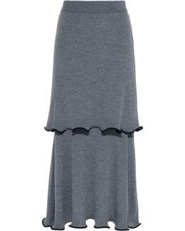 Gray Ruffled Midi Skirt
