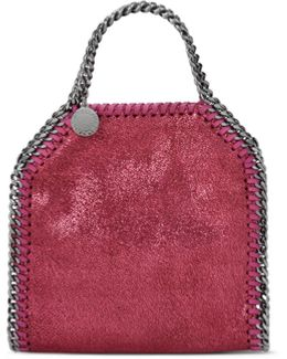 Hot Pink Falabella Shiny Dotted Chamois Mini Tote