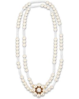 Cream Rose Pearl Necklace