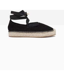 Suede Ribbon Lace-up Espadrilles