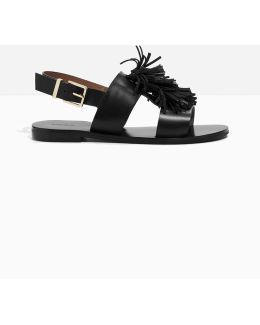 Suede Tassel Leather Sandalette