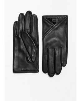 Overlapping Fold Leather Gloves