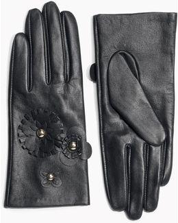 Flower Leather Gloves