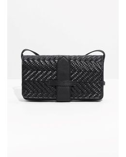 Tab Detail Braided Leather Bag