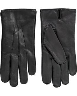 Plain Black Leather Gloves