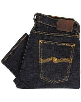 Tight Long John Twill Rinsed Indigo Denim Jeans