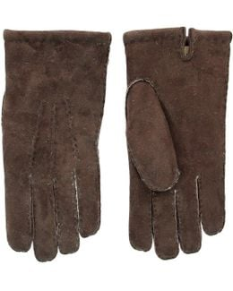 Mahogany Brown Lambskin Leather Gloves