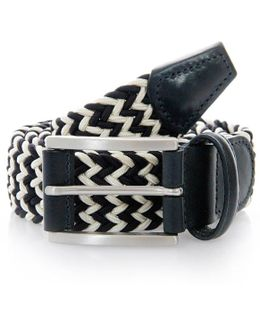 Anderson Belts Woven White Navy Belt