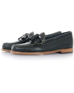 Layton Pull Up Navy Leather Loafer Shoe