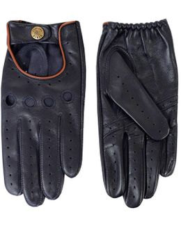 Leather Navy Tan Driving Gloves