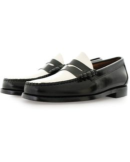 Larson Moc Penny Black And White Loafer Shoes