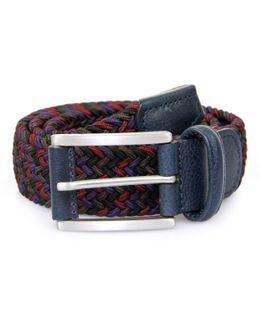 Anderson Woven Multi Purple Burgundy Braided Belt