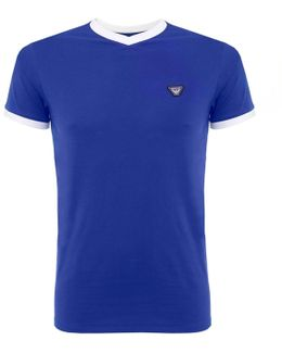 V-neck Pique Blue T-shirt