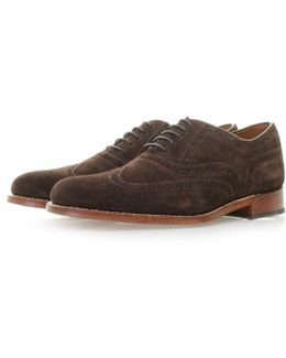 Dylan Chocolate Suede Brogue Shoes