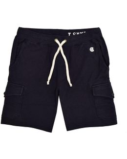 Navy Cargo Sweat Shorts