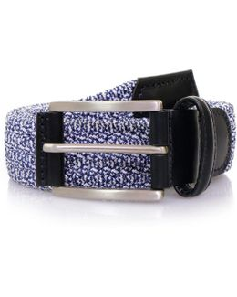 Anderson's Blue Leather Trimmed Elasticated Woven Belt