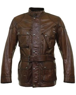 The Panther Belted Cognac Leather Jacket