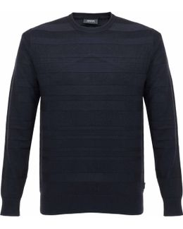 Armani Knit Striped Navy Jumper