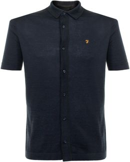 Saul Ss True Navy Knit Polo Shirt