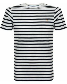 Lennox Ss Stripe True Navy Marl T-shirt
