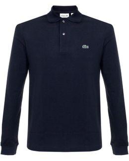 Pique Navy Ls Polo Shirt L1312
