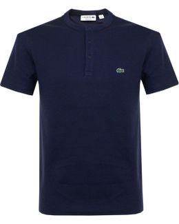 Button Placket Navy T-shirt