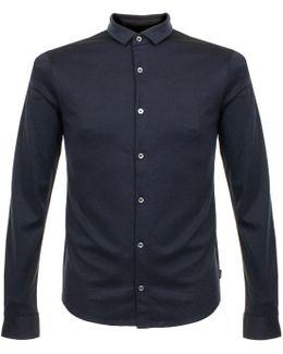 Armani Notte Blue Knit Polo Shirt