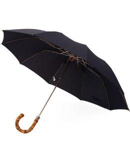 Whangee Cane Crook Folded Navy Umbrella Lud.