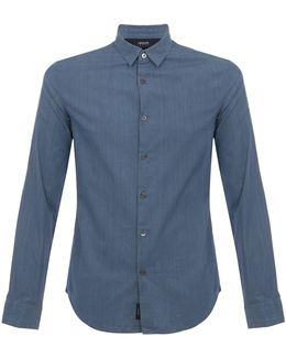 Armani Pin Striped Blue Denim Shirt