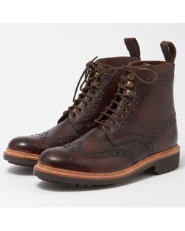 Fred Dark Brown Brogue Boot