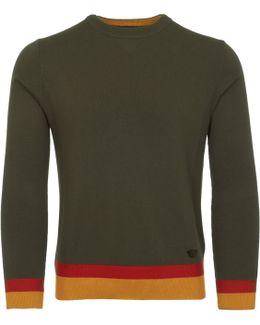 Verde Striped Hem Knitted Jumper