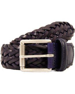 Anderson Belts Purple Woven Leather Belt