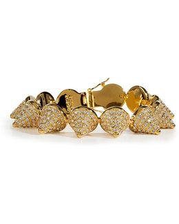 Gold Crystal Encrusted Pave Cone Crystal Bracelet