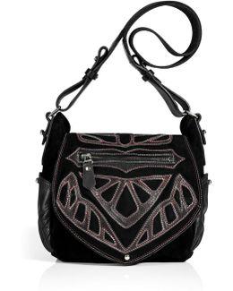 Black Suede/leather Ballwin Bag With Appliqué