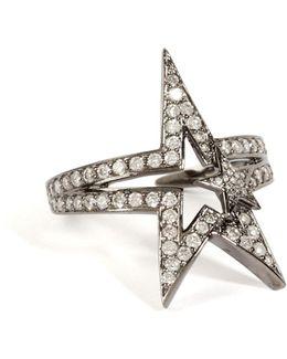 18k Black Rhodium Fontana Ring With White Diamonds