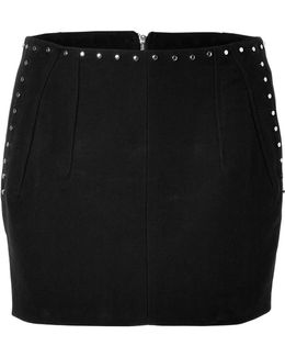 Cotton Studded Mini-skirt In Black