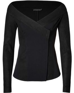 Leather Trimmed Jacket In Black