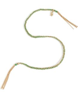 18k Gold/silk Woven Tassel Bracelet In Green